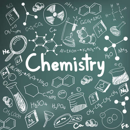 Chemistry science theory and bonding formula equation, doodle handwriting and tool model icon in blackboard background paper used for school education and document decoration, create by vector Ilustracja