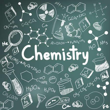 experimento: La teoría química de la ciencia y la ecuación de la fórmula de unión, garabato de escritura a mano y el modelo icono de la herramienta en papel de fondo de la pizarra se utiliza para la educación escolar y la decoración documento, crear por el vector