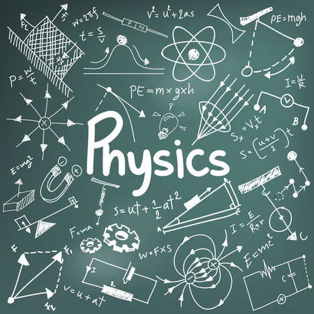 Physics science theory law and mathematical formula equation, doodle handwriting and model icon in in blackboard background paper used for school education and document decoration, create by vector