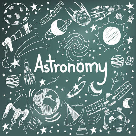children illustration: Astronomy science theory and drawing doodle handwriting icon of star planet and space transportation in blackboard background used for school education and document decoration, create by vector Illustration