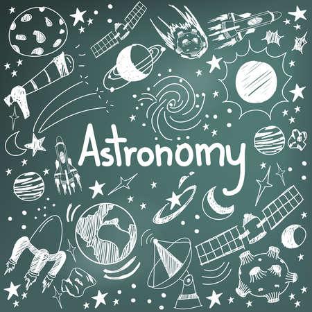 dibujo: la teoría de la ciencia y la astronomía dibujo icono de puño y letra del doodle del planeta estrella y el transporte espacial a fondo de la pizarra se utiliza para la educación escolar y la decoración documento, crear por el vector Vectores