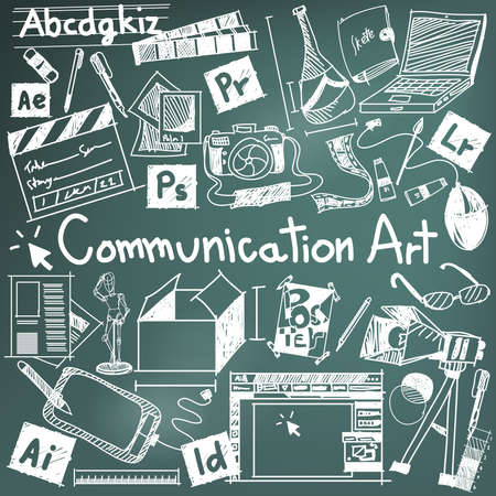 Communication art media university faculty major doodle sign and symbol icon tool in blackboard background used for college education and document decoration with subject header text, create by vector