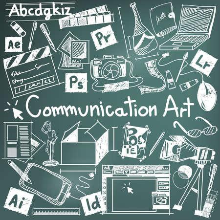Komunikacja Media Art University Wydział głównym narzędziem Doodle znak i symbol ikona tablicy tle wykorzystywane do wyższego wykształcenia i dekoracji dokumentu z tekstem nagłówka zastrzeżeniem, tworzenie przez wektor