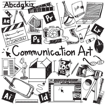 Communication art media university faculty major doodle sign and symbol icon tool in white isolated background paper used for college education and document decoration with subject header text, create by vector