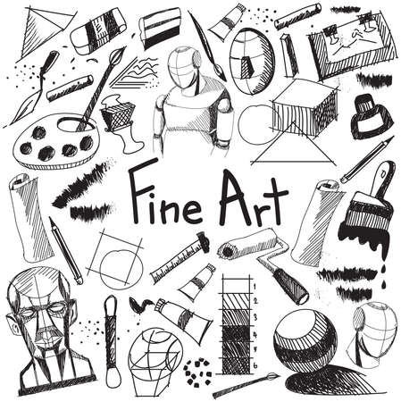 Fine art equipment and stationary handwriting doodle and tool model icon in white isolated background paper used for school or college education and document decoration with subject header text, create by vector