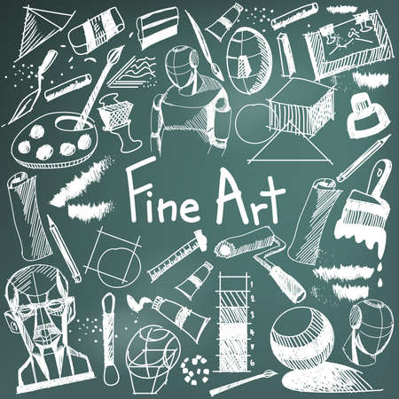 fine art: Fine art equipment and stationary handwriting doodle and tool model icon in blackboard background used for school or college education and document decoration with subject header text, create by vector