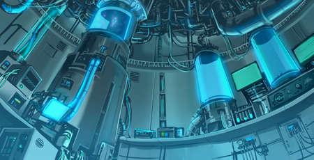 미래와 공상 과학 판타지 내부 레이아웃에 대규모 과학 실험실의 만화 그림 배경 장면