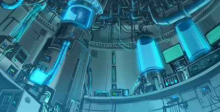 experiments: Cartoon illustration background scene of massive science laboratory in futuristic and sci-fi fantasy interior layout Stock Photo