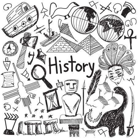 Geschiedenisonderwijs onderwerp handschrift doodle icoon van de locatie landmark cultuur teken en symbool witte geïsoleerde achtergrond papier dat gebruikt wordt voor de presentatie titel met koptekst, creëren door vector Stock Illustratie