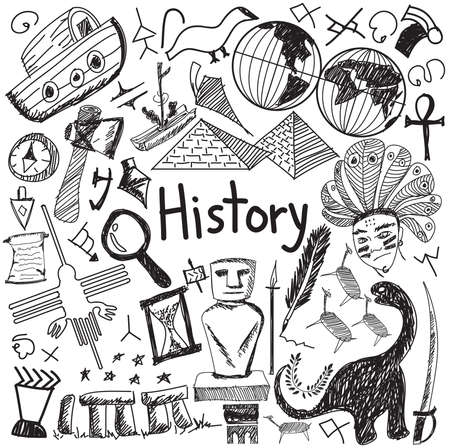 History education subject handwriting doodle icon of landmark location culture sign and symbol white isolated background paper used for presentation title with header text, create by vector