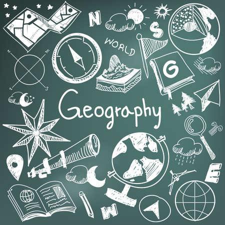 Geografie en geologie onderwijsvakken krijthandschrift doodle icoon van de aarde exploratie en kaartontwerp teken en symbool in bordachtergrond papier dat gebruikt wordt voor de presentatie titel met koptekst, creëren door vector Vector Illustratie