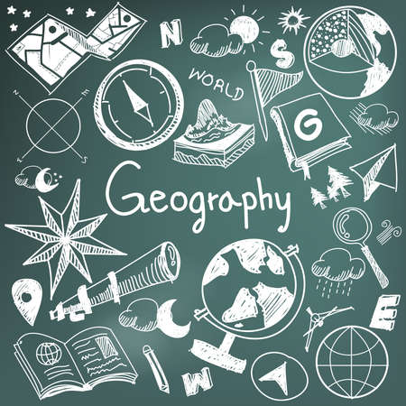 Geography and geology education subject chalk handwriting doodle icon of earth exploration and map design sign and symbol in blackboard background paper used for presentation title with header text, create by vector Иллюстрация