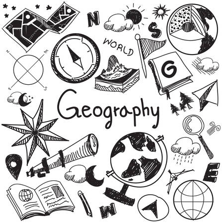 Geography and geology education subject handwriting doodle icon of earth exploration and map design sign and symbol in white isolated background paper used for presentation title with header text, create by vector