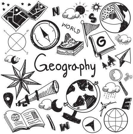 Geographie und Geologie Bildung Thema Handschrift doodle Ikone der Erde Exploration und Karte entwerfen Zeichen und Symbol in weißem Hintergrund isoliert Papier für die Präsentation Titel mit Kopf Text verwendet wird, durch den Vektor erstellen