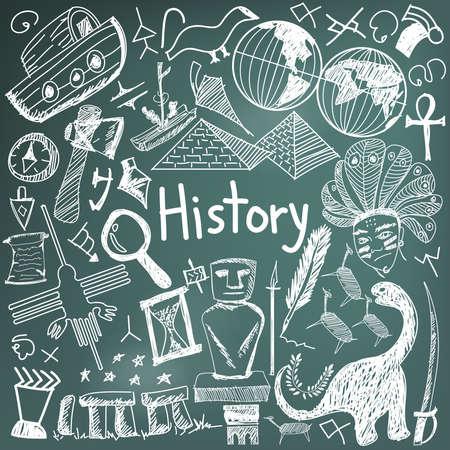 Estudios realizados sujetos icono del doodle de la escritura de tiza de la señal de la cultura ubicación hito y símbolo de papel fondo de la pizarra para el título presentación con texto de cabecera, crear por el vector