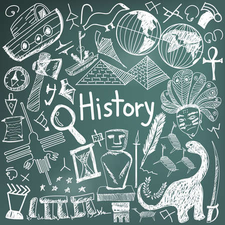 History education subject chalk handwriting doodle icon of landmark location culture sign and symbol blackboard background paper used for presentation title with header text, create by vector Illustration