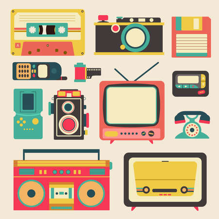 Vieja tecnología de los medios de comunicación tales como retro cámara del teléfono móvil localizador cinta de disquete de la televisión de radio casette y el diseño de iconos plana amplificador de altavoz, crear por el vector