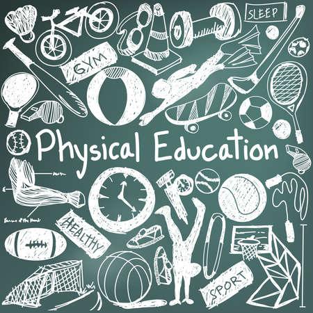 educación ejercicio físico y la educación gym icono del doodle de la escritura de tiza de la señal de la herramienta del deporte y el símbolo en fondo de la pizarra utilizada por el título de la presentación con el texto de cabecera, crear por el vector