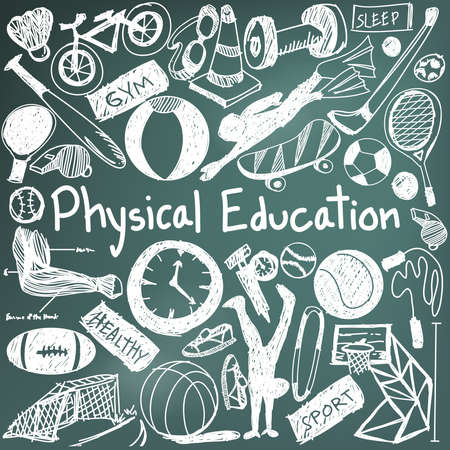 physical education: Physical education exercise and gym education chalk handwriting doodle icon of sport tool sign and symbol in blackboard background  used for presentation title with header text, create by vector