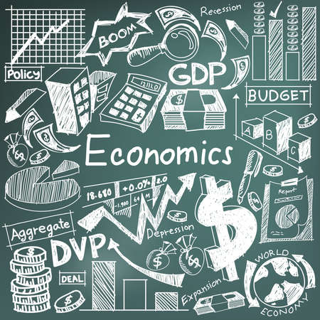 Economics and financial education chalk handwriting doodle icon of banknote, money currency, investment profit graph, and cost analysis sign and symbol  in blackboard background used for presentation title with header text, create by vector Vectores