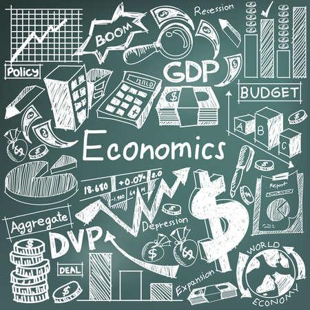 estudiar: La economía y la educación financiera tiza escritura a mano del icono del doodle del billete de banco, moneda dinero, gráfico de ganancias de inversión, y el signo de análisis de costos y el símbolo en fondo de la pizarra utilizada por el título de la presentación con el texto de cabecera, crear por el vector