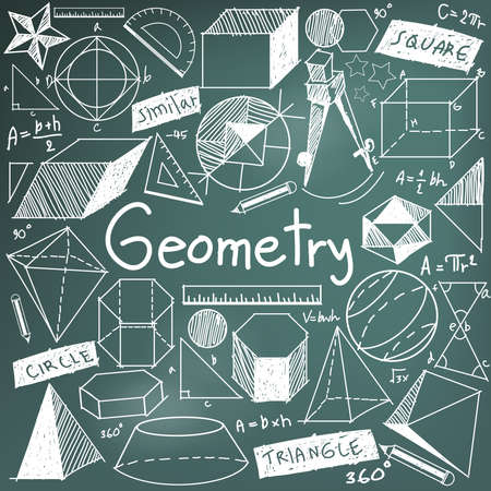 la teoría de la geometría matemática y la fórmula matemática tiza icono de puño y letra del doodle en el fondo tablero con el modelo geométrico a mano utilizada para la enseñanza escolar y la decoración documento, crear por el vector