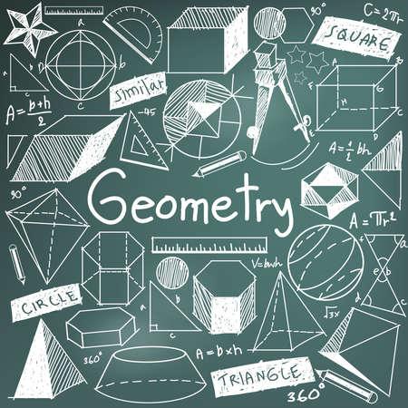 théorie Géométrie mathématique et formule mathématique craie doodle icône d'écriture en arrière-plan panneau avec la main dessiné modèle géométrique utilisé pour l'enseignement scolaire et le document décoration, créer par le vecteur