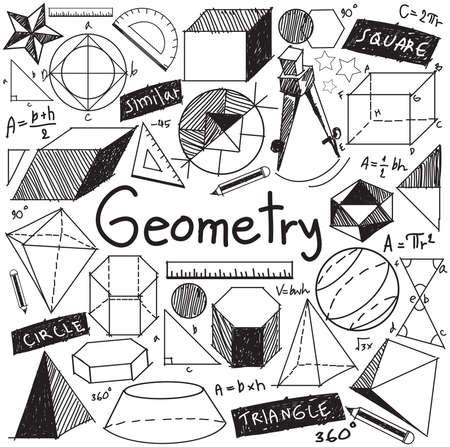matematicas: la teoría de la geometría matemática y la fórmula matemática icono del doodle de escritura a mano en el fondo aislado blanco con dibujado a mano modelo geométrico utilizado para la educación escolar y la decoración documento, crear por el vector Vectores
