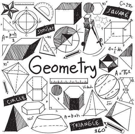 Geometry math theory and mathematical formula doodle handwriting icon in white isolated background with hand drawn geometric model used for school education and document decoration, create by vector Illustration