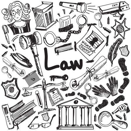 La ley y la educación escritura juicio icono del doodle de la señal de la justicia y el símbolo en fondo blanco aislado papel utilizado para la presentación del título con el texto de cabecera, crear por el vector