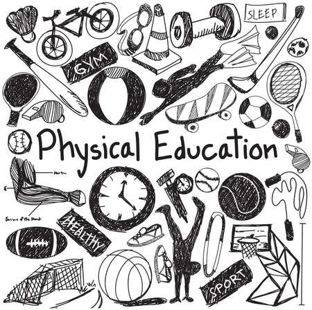 educacion fisica: educación ejercicio físico y la educación gym icono del doodle de la escritura de tiza de la señal de la herramienta del deporte y el símbolo en fondo blanco aislado papel utilizado para la presentación del título con el texto de cabecera, crear por el vector