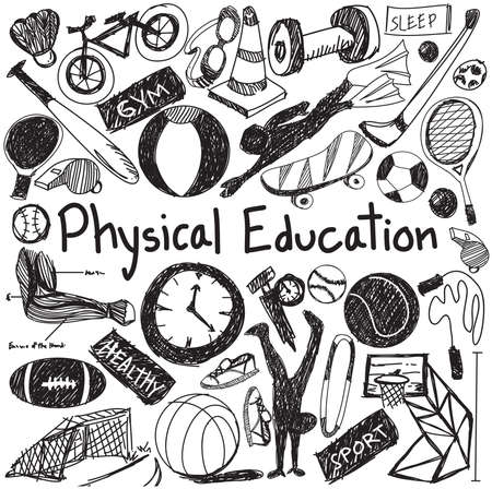 physical training: Physical education exercise and gym education chalk handwriting doodle icon of sport tool sign and symbol in white isolated background paper used for presentation title with header text, create by vector