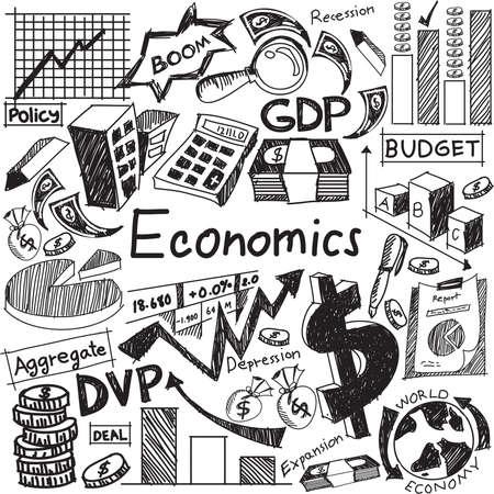 Economie en financiële educatie handschrift doodle icoon van bankbiljet, geld valuta, investeringen winst grafiek, en kostenanalyse teken en symbool in geïsoleerde witte achtergrond papier dat gebruikt wordt voor de presentatie titel met koptekst, creëren door vector