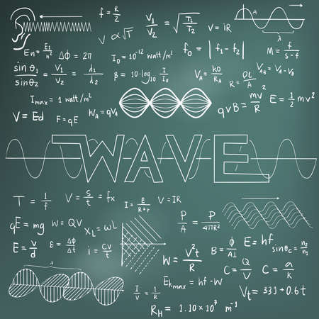 equation: Wave physics science theory law and mathematical formula equation, chalk doodle handwriting and frequencies model icon in blackboard background used for school education and document decoration, create by vector