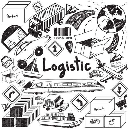 Logistic, transportation, and inventory management handwriting doodle icon cargo object sign and symbol in white isolated background paper used for business presentation title or university education with header text, create by vector