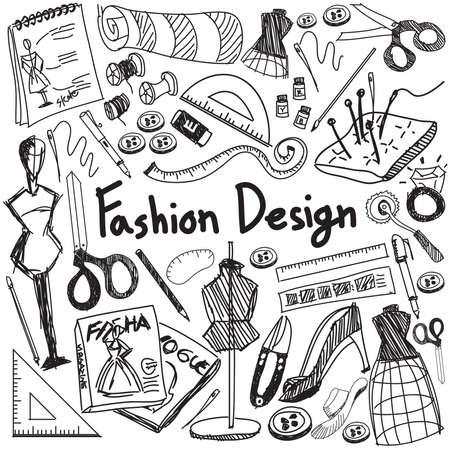 Fashion design onderwijs handschrift doodle gereedschapspictogram teken en symbool in geïsoleerde witte achtergrond papier dat gebruikt wordt voor designer presentatie titel met koptekst, creëren door vector
