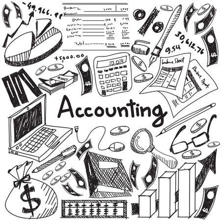 Comptabilité financière et l'éducation écriture doodle icône du billet de banque, l'argent, le bilan et le coût et le signe du chiffre d'affaires et le symbole en arrière-plan blanc isolé papier utilisé pour le titre de la présentation d'entreprise avec le texte d'en-tête, créer par le vecteur Vecteurs