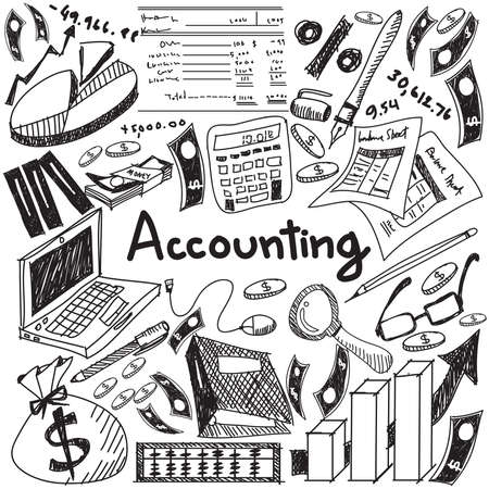 Accounting and financial education handwriting doodle icon of banknote, money, balance sheet and cost and revenue sign and symbol in white isolated background paper used for business presentation title with header text, create by vector
