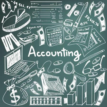 회계 및 금융 교육 분필 필기 낙서 은행권, 돈, 대차 대조표 및 비용 및 수익 기호 및 기호 칠판에 아이콘 벡터 텍스트를 사용 하여 비즈니스 프레 젠 테