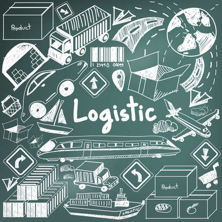 supply chain: Logistic, transportation, and inventory management chalk handwriting doodle icon cargo object sign and symbol in blackboard background used for business presentation title or university education with header text, create by vector Illustration
