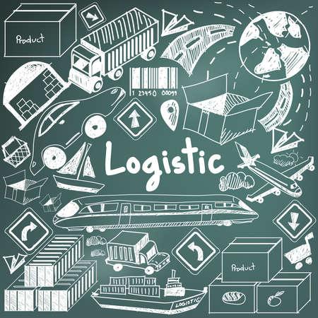 moyens de transport: Logistique, transport, gestion des stocks et la craie écriture doodle icône signe objet de la cargaison et le symbole en arrière-plan, tableau noir utilisé pour le titre de présentation de l'entreprise ou à l'université avec le texte d'en-tête, créer par le vecteur