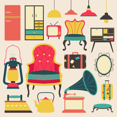 closet communication: Old retro media communication technology and house appliance furniture and kitchen tool  flat icon design, create by vector Illustration