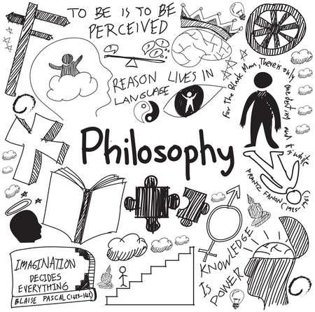 Filozofia i religia Światowa nauka pisma doodle szkic projektowania przedmiotem znak i symbol białym tle pojedyncze papieru do prezentacji tematu lub wprowadzenie edukacji z próbki tekstu, tworzenie przez wektor Ilustracje wektorowe