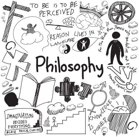 World philosophy and religion doctrine handwriting doodle sketch design subject sign and symbol in white isolated background paper for education subject presentation or introduction with sample text, create by vector