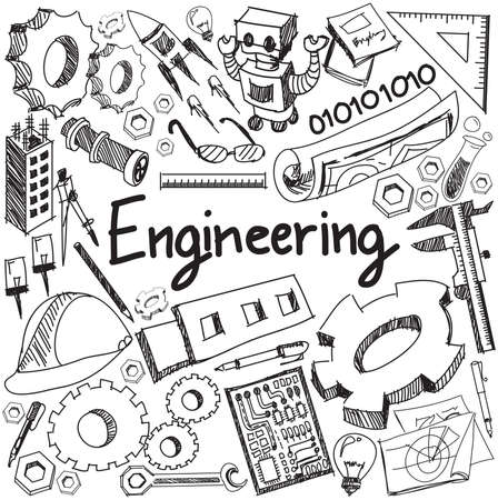 Mécanique, électrique, civil, chimique et autre profession de l'enseignement du génie écriture doodle signe outil icône et symbole en arrière-plan blanc isolé papier utilisé pour sujet ou le titre de présentation avec le texte d'en-tête, créer par le vecteur