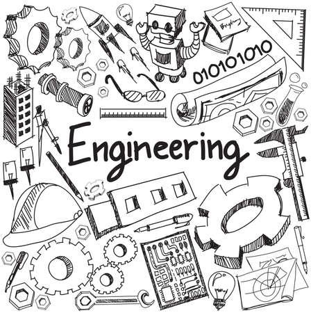 herramientas de mecánica: Mecánica, eléctrica, civil, otro de escritura a mano del doodle signo icono de la herramienta enseñanza de la ingeniería química y la profesión y el símbolo en fondo blanco aislado papel utilizado para tema o título de la presentación con el texto de cabecera, crear por el vector Vectores