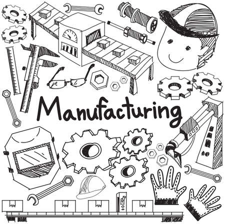 Manufacturing and operation system in factory production assembly line handwriting doodle sketch design tools sign and symbol in white isolated background paper for education subject presentation or introduction with sample text, create by vector
