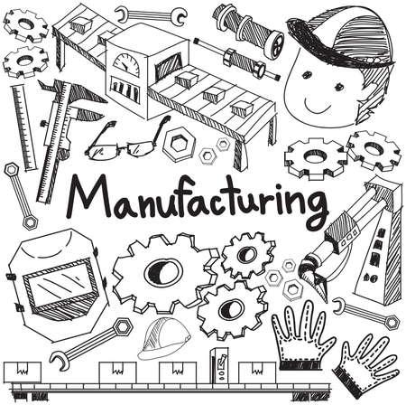 assembly: sistema de fabricación y el funcionamiento de la producción de fábrica de ensamblaje de escritura a mano del Doodle del bosquejo herramientas de diseño de signo y símbolo en blanco aislado papel de base para la presentación o introducción de educación sujetos con texto de ejemplo, crear por el vector