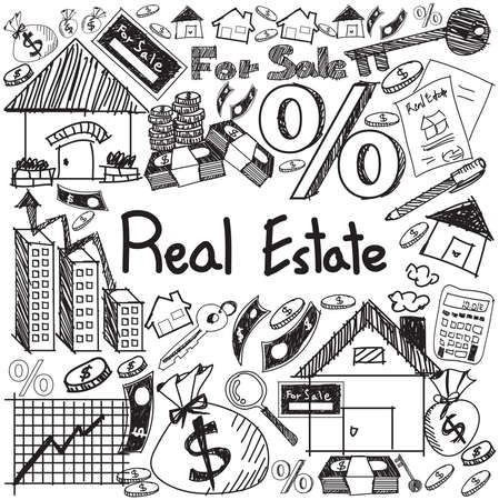 real estate investment: Real estate business industry and investment handwriting doodle sign and symbol in white isolated background paper used for education subject presentation or introduction with sample text, create by vector Illustration
