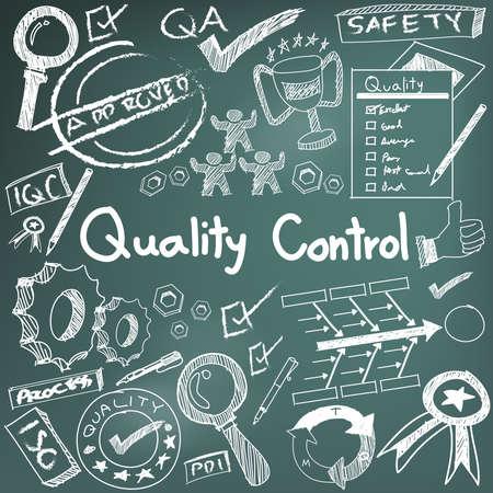 El control de calidad en la producción de la industria manufacturera y la operación de escritura a mano del Doodle del bosquejo herramientas de diseño de signo y símbolo en blanco aislado papel de base para la presentación educación de gestión de ingeniería o introducción con texto de ejemplo, crear por vect